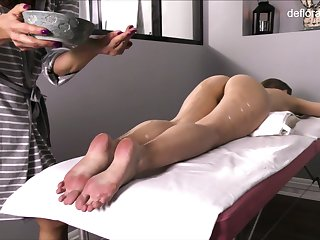 Not touched pussy of all lubed slender Jennifer Lorentz is teased during massage