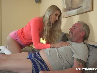 Young blond nympho Diane Chrystall is eager of old wrinkled dick of her far-out lover