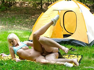Camping trip consists there getting laid involving her step dad all day long
