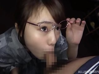 Amateur Japanese girl Morishita Mirei with glasses gives a BJ in car