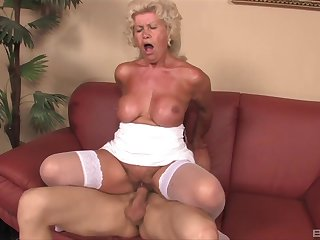 Adult granny Effie gives a titjob and rides her younger lover