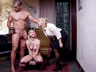 Submissive tow-haired roughly fucked all over a brutal BDSM troika